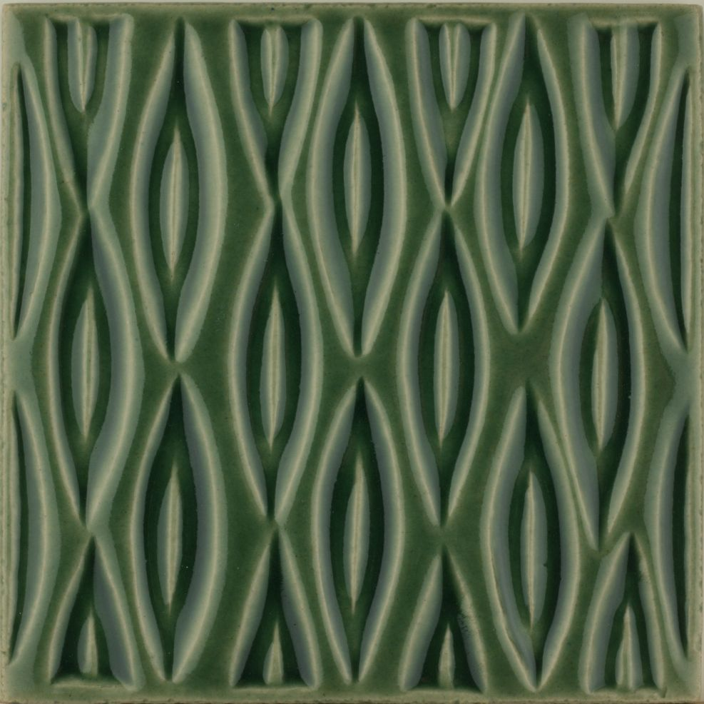 Hand made Maugersbury Lattice Forest Green tile