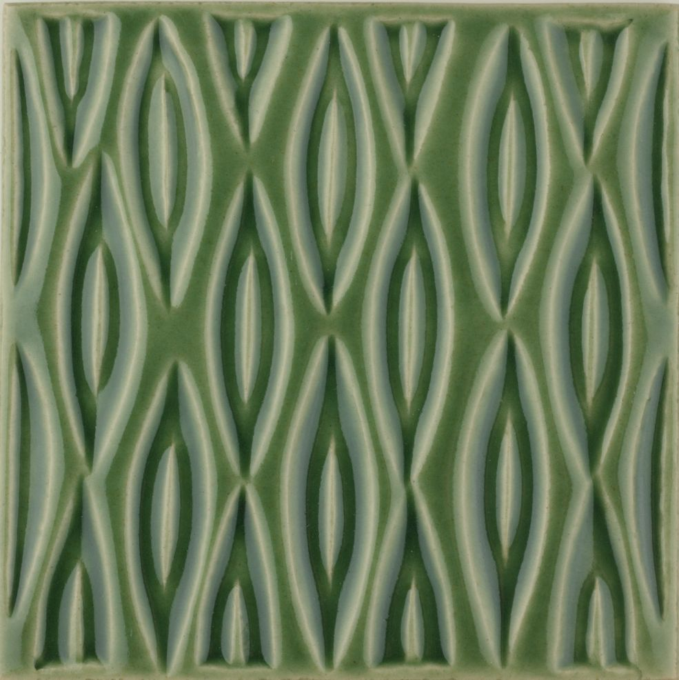 Hand made Maugersbury Lattice Meadow Green tile