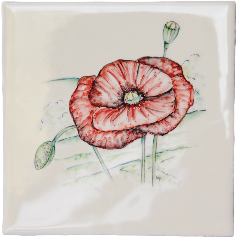 British Wildlife - Poppy on Elements Ivory