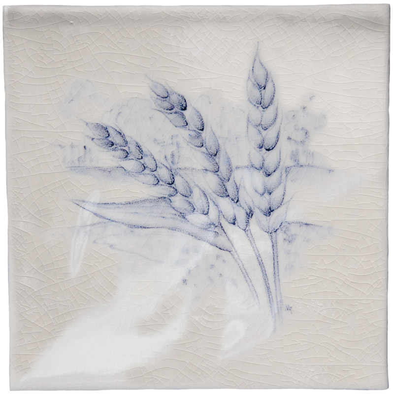 British Wildlife -Wheat Ears Blue on Antique White