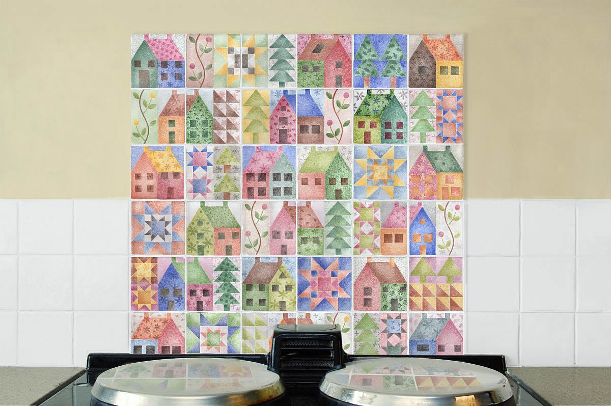 Patchwork Tile Mural over an Aga