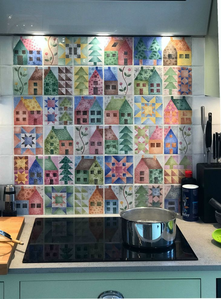Patchwork Tile Mural over a hob