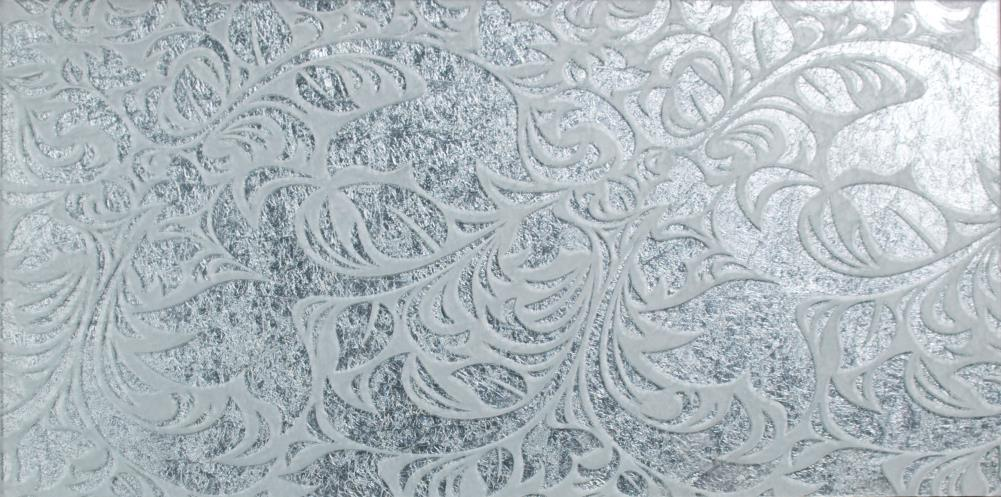 Metal Leaf Glass - Honfleur Silver HSL6030 600x300mm