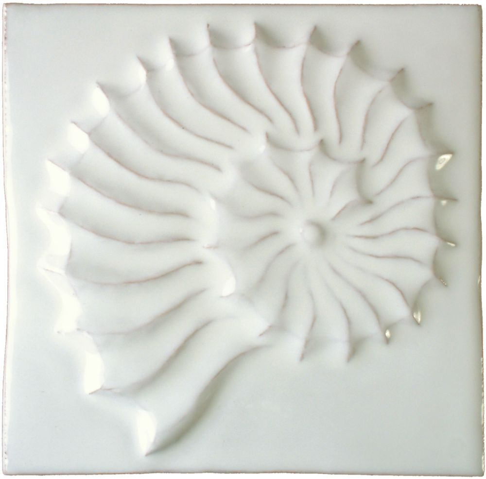 Hand made Fossil white tile