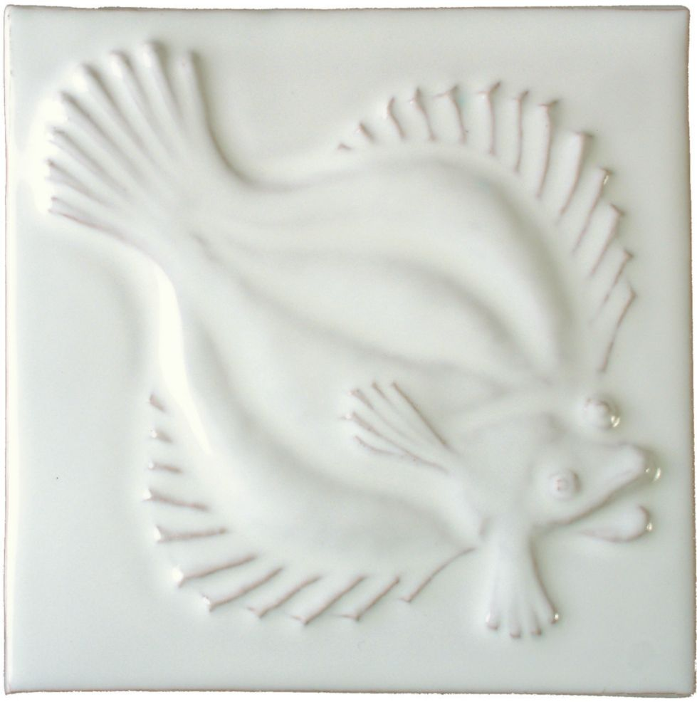 Hand made Plaice white tile
