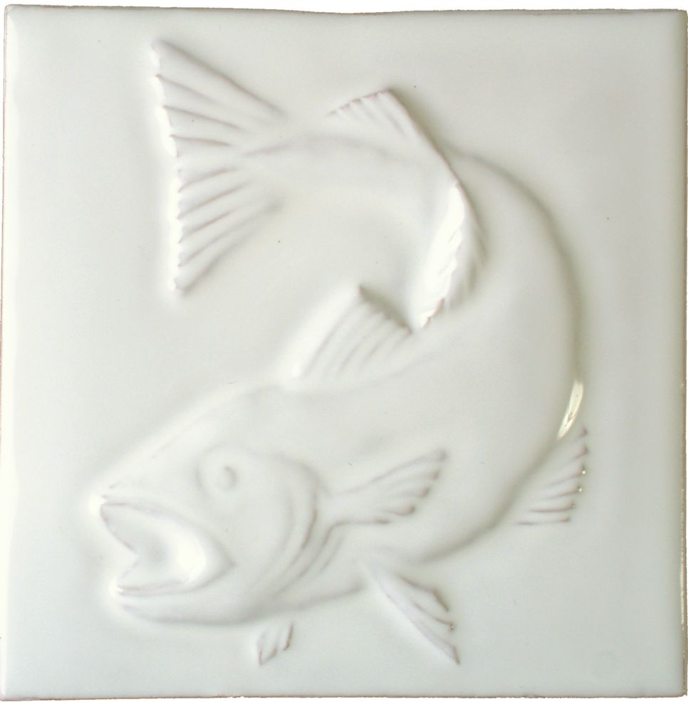 Hand made Salmon white tile