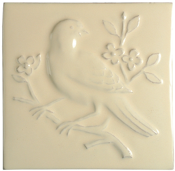 Hand made Impressions Sixpence Birds Bullfinch cream tile