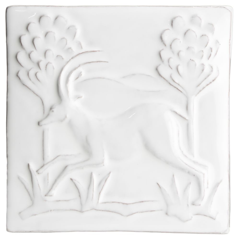 Hand made relief tile - Tapestry Ibex