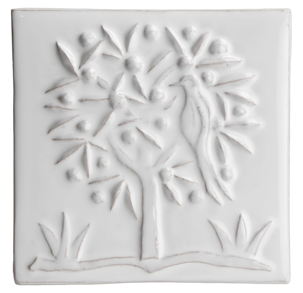 Hand made relief tile - Tapestry Orange Tree