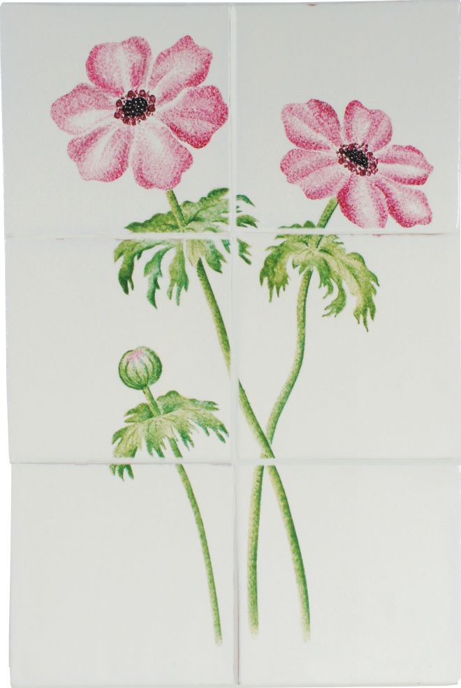 Hand painted Anenome tile