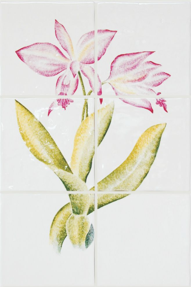 Hand painted Orchid tile