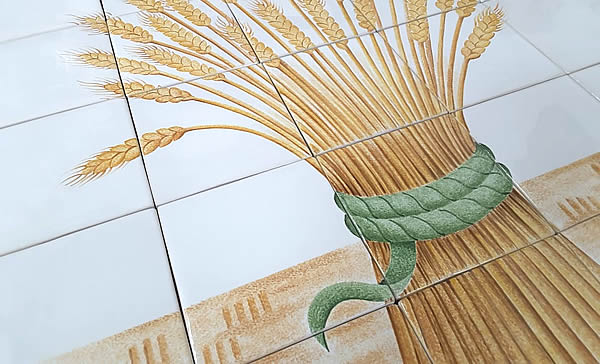 Detail from one of the tile murals for Chidham Village Hall, Chichester.