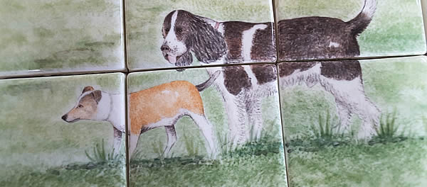 Detail from one of bespoke Country Scene tile murals