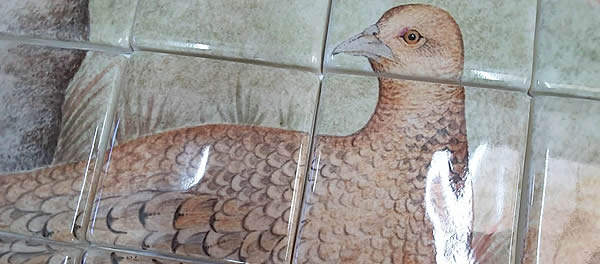 Detail from one of our recent Pheasant tile murals