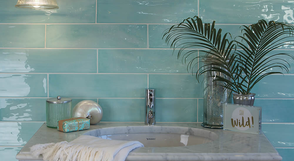 Tiles of Stow Kennet Long Brick Ceramic Tiles - Aqua