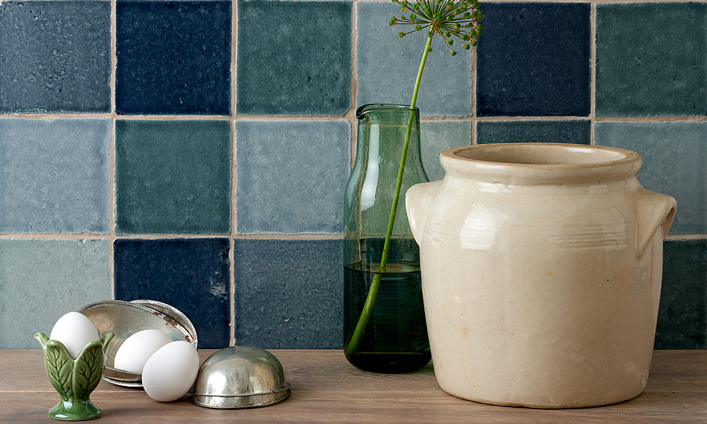 Tiles of Stow Hand made Tiles - Halcyon - Dapple, Grace, Parasol and Seashore colours