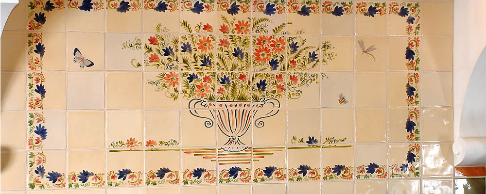 55 Tile Fleur Antique Panel with Bees and Butterflies fired onto French Cream 110x110x9mm