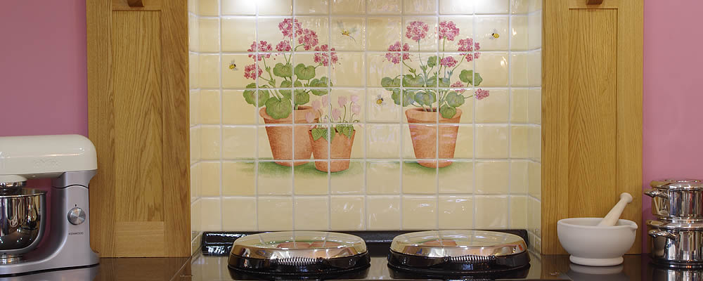 Geraniums and Cyclamen Hand Painted Tile Mural