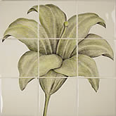 Floral Blooms Lily Green 9 tile panel